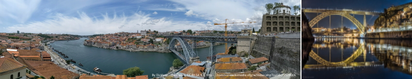 Pictures of Porto & Douro pano from top of Gaia - By Dicklyon - Own work, CC BY-SA 4.0, commons.wikimedia.org=79529006 and Luis I e Guindais by Manuel Varzim